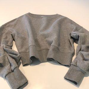 H&M Gray crew neck crop sweatshirt